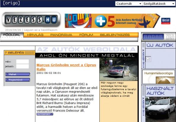 Oldalunkon látszik a legjobban, mennyire rég volt 2001.  A logo az autók kilométer-számlálóját idézte