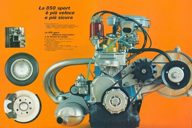 Így néz ki egy hajdani prospektusban a motor, igaz, nem a sima limuziné, hanem a sportosabb változatoké. Ezt jelzi a több leömlőcsöves kipufogó és az utalás a tárcsafékre, ami a 37 lóerős Specialon és a Sportcoupén volt széria