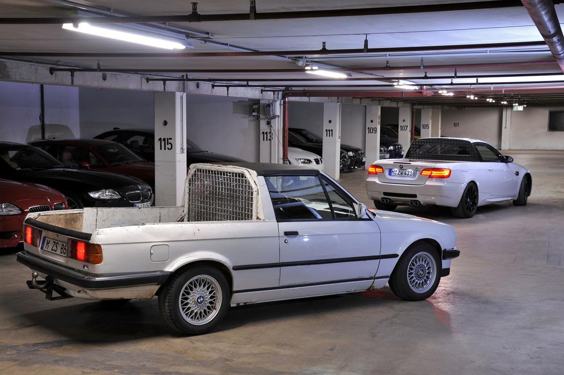 BMW-ből egész sok platós verziót építenek vállalkozó kedvű műhelyek, de a gyáriak sem hagyták ki a ziccert. A képen látható két M3-as (E30, E92) a bajorok alkotása.
