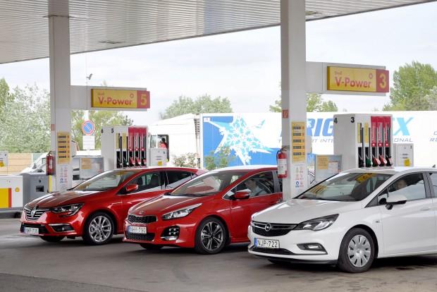 7,2 litert fogyasztott a Renault, 7,9-et a Kia, 6,4-et az Opel turbómotorja