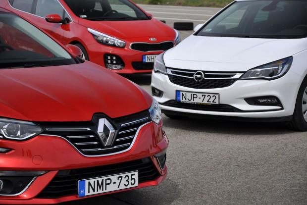 Kis különbséggel az Astra megelőzte a Mégane-t, soakt fogyasztó motorja miatt a Kia a harmadik