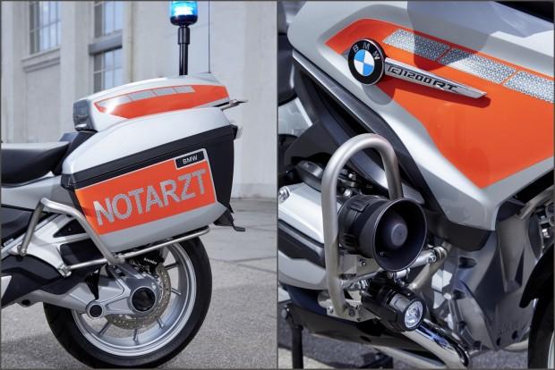 Az orvosi motorkerékpár motorosan kitolható kék villogót, valamint két, orvosi eszközökkel teljesen berendezett oldaldobozt kapott; ezeket fém bukókeretek védik a sérüléstől.