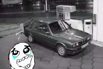 Ilyen küzdelmet soha nem láttál még benzinkúton