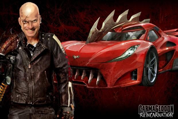 Egy rajongói kép carmageddonosított Ferrari Italiával és a kedves, pszichopata főhőssel a játékból