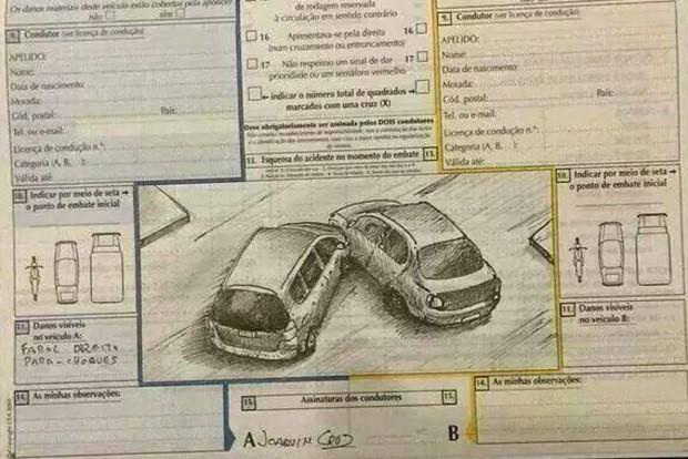 Mindig legyen a kocsiban balesetei bejelentő és toll is. A kék-sárga nem a felelősség tisztázására szolgál, az erről a megjegyzés rovatban alul tett nyilatkozat  visszavonható, mert kényszer alatt is születhet a helyszínen. De az a normális, ha a vétkes fél megteszi ezt és nem kezd el utólag hazudozni, ami az esetek nagy részében így is történik