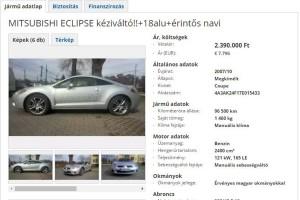 Eladó Eclipse, amihez sehol nincs a BMW meg a Golf
