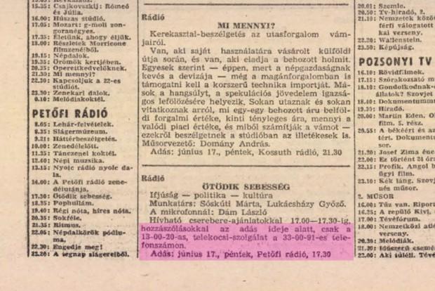 1983-ban is volt telekocsi, a rádió Ötödik sebesség című műsorában hozták össze a kereslete a kínálattal