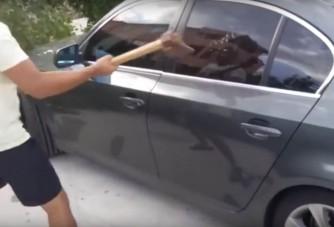 Baltával sem tudták betörni a BMW ablakát