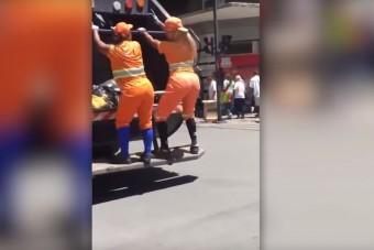 Közmunkás csajok táncoltak a kukásautón