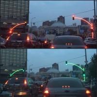 Zseniális közlekedési lámpát fotóztak Ukrajnában