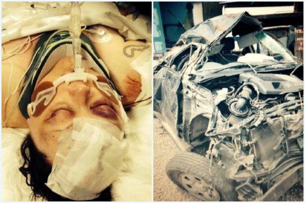 Az áldozat és autója maradványai