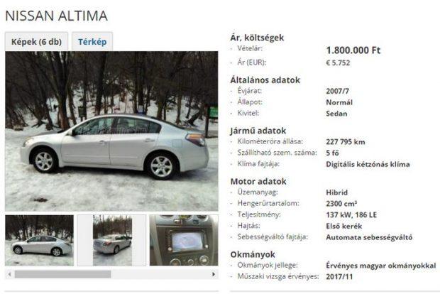 Kép: Használtautó.hu screenshot