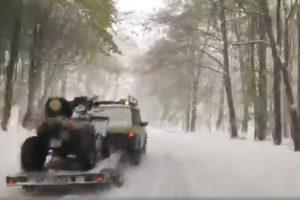 Élő videón a rendkívüli áprilisi havazás