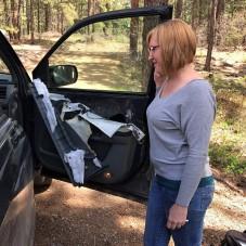 Így néz ki egy autó amit dühös medve kapott szét
