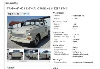 A nap hirdetése: Trabant 2 millióért