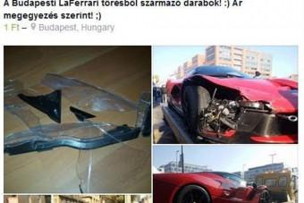 A Facebookon árulják a Pesten összetört Ferrari darabjait