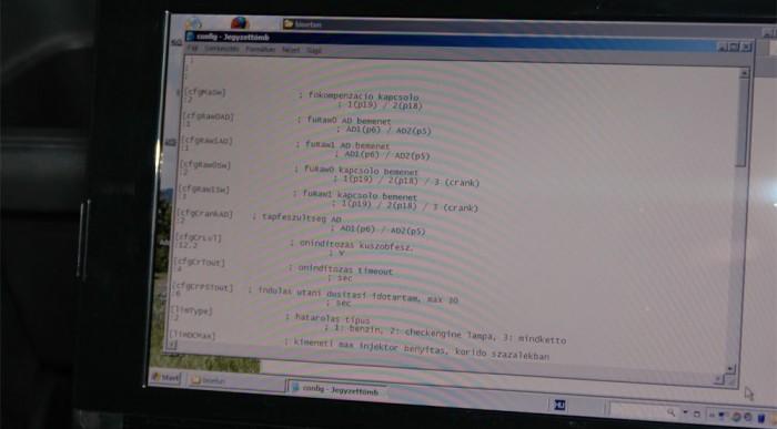 A konfigurációs file részlete