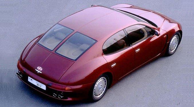 Már 1993-ban is láthattunk elképzeléseket négyajtós Bugattiról