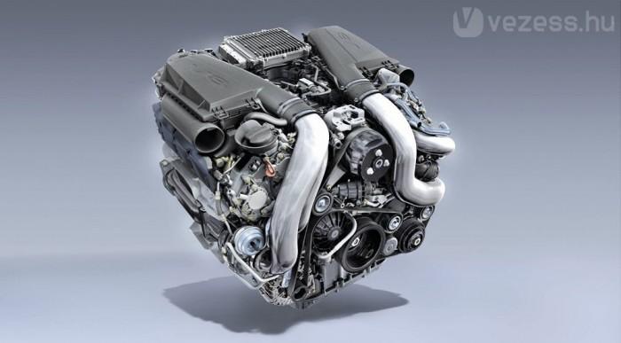 Két turbó kapcsolódik a V8-ashoz
