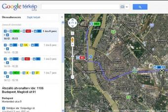 Google-térképen a BKV menetrend