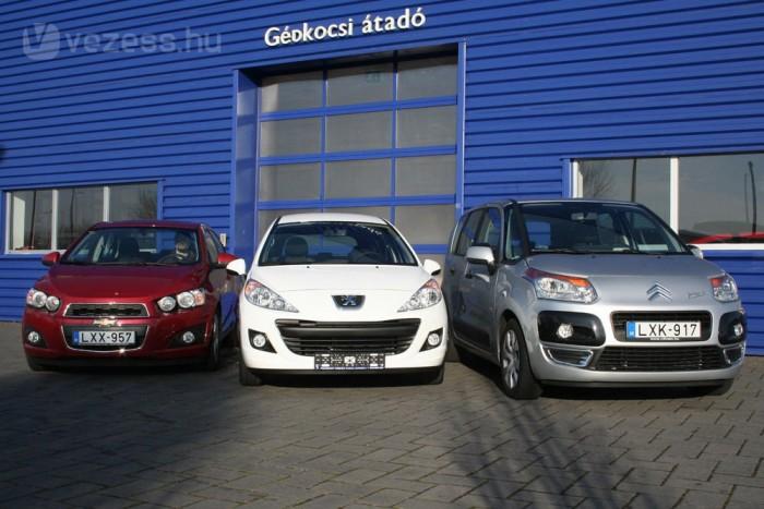 Mindhárom autónál az 1,4-es, 100 lóerő körüli benzines motort vettük alapul