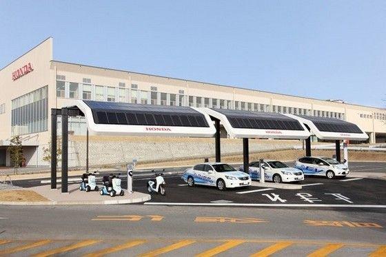 Az E-Kizuna projekt egyik látványterve: napelem-tetős töltő-parkoló villanyautóknak