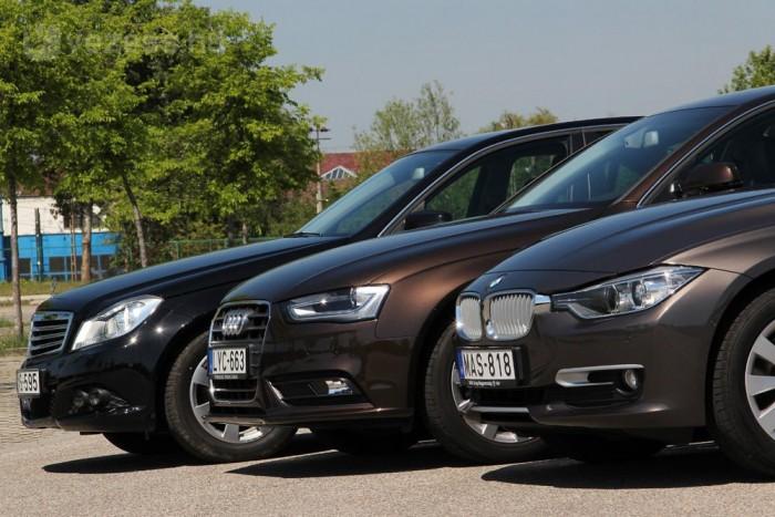 Körülbelül 6,5 liter a BMW, 7,3 az Audi és 6,9 a Mercedes-Benz fogyasztása százon