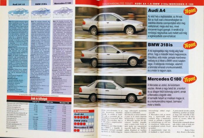 Összehasonlító teszt 1995-ből: a tesztelt A4 3 905 000 forintba került, a BMW ára 4 110 000 Ft a korabeli árlista szerint, a C 180-ért viszont 4 698 000 forintot kért az importőr