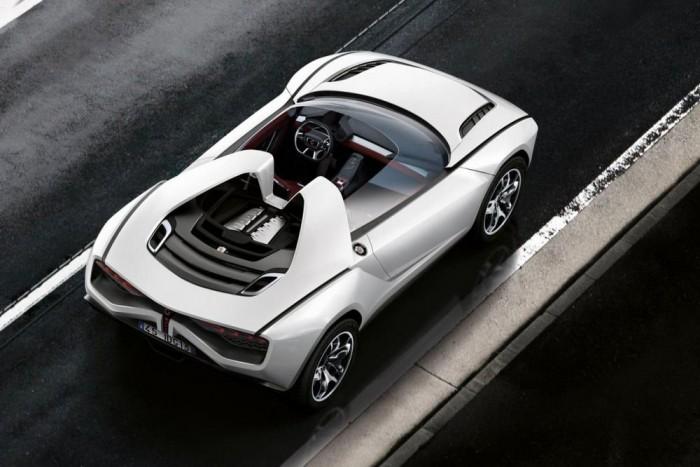 A roadster a merevítő tető hiányát szénszálas erősítésű bukókerettel ellensúlyozza. A V10-es motor a dizájn fontos eleme