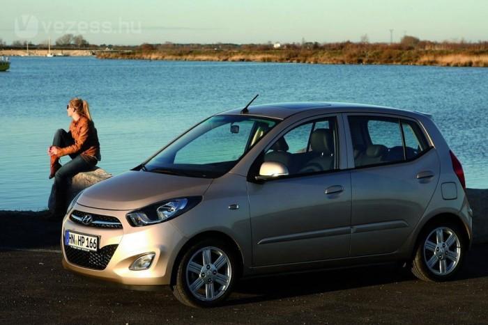 8. Hyundai i10 1,1 69 LE, 4,7 l/100 km. Újra egy kicsi, könnyű autó, és megint egy háromhengeres motor, aminek 1000 köbcenti körül tényleg van értelme. Korábbi összehasonlító tesztünkön az i10 sokkal messzebb volt a gyári adattól, mint a vele azonos átlagú Suzuki Splash 1,0