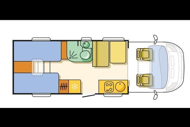 Adria lakóautó lakóterének alaprajza
