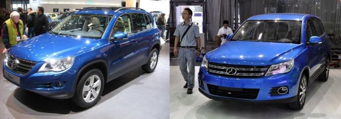 A sablonmásolók egyik kínai császára a Yema nevű cég. Több típust is klónoztak már, több különböző gyártótól. A képen a T-SUV elnevezésű Volkswagen Tiguan másolat.