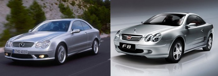 BYD F8 azaz a Mercedes CLK koppintott verziója. A gyártó az utolsó apróságot is alapos gonddal kopírozta le, de a kék-fehér márkajelet már a BMW ihlette.