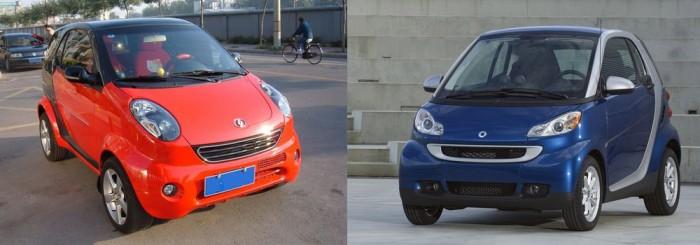 Shuanghuan Noble a Smart ForTwo ellen. Lehetetlen tagadni a hasonlóságot, a városi törpe a Smartot birtokló Mercedes számára is szemet szúrt, és jogi lépéseket helyeztek kilátásba ha a Noble Európában is forgalmazásba kerül.