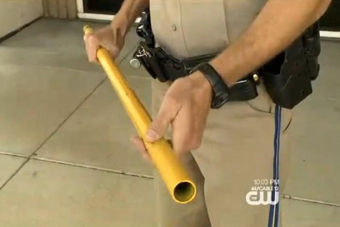 Egy ilyesforma cső ölte meg a férfit. A rendőrök abban bíznak, hogy ujjlenyomatot találnak a csövön.