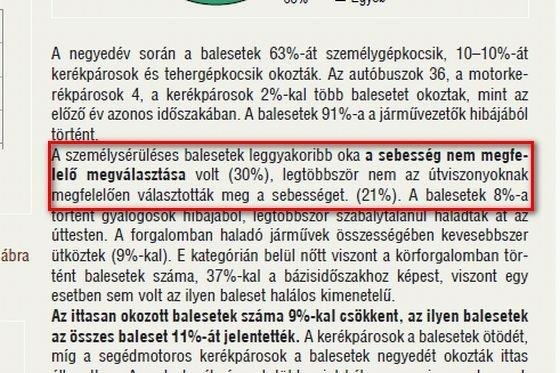 A KSH még elmondja az igazat: az abszolút, traffipaxszal kiszűrhető gyorshajtás a személysérüléses balesetek mindössze 9%-áért felelős!