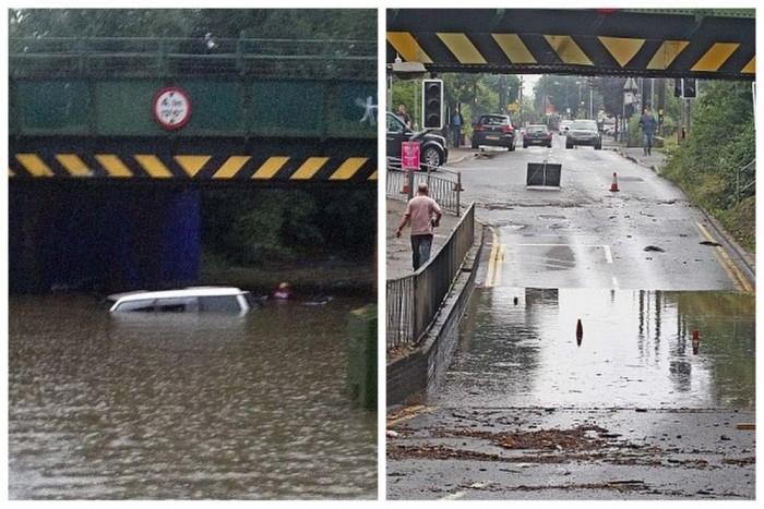 A híd alja az esőzés után, és másnap reggel, miután elvonult a víz