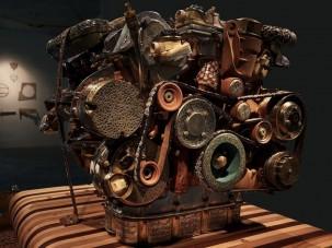 Hihetetlen Mercedes motor, fából és csontból