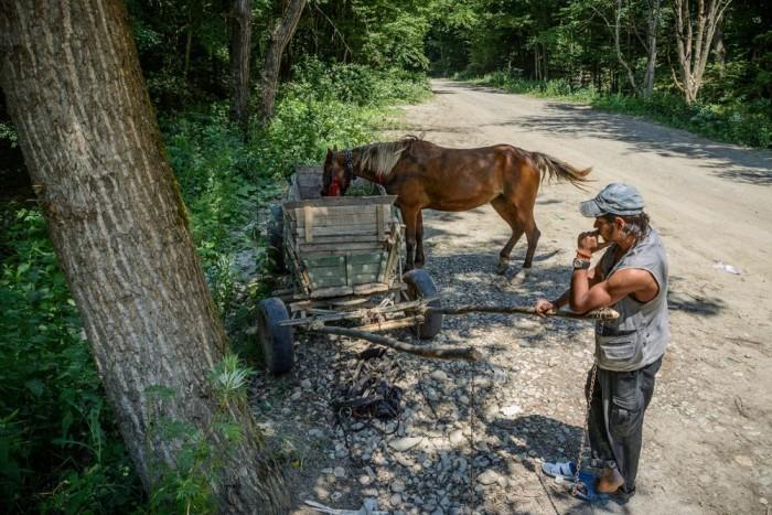Egy férfi pihenteti lovát az 1T jelzésű országúton Erdélyben, a Szilágy megyei Mojgrád közelében. Romániában országútnak nevezik azt az utat, amely országos érdekeltségű. A Román Statisztikai Hivatal jelentése szerint létezik 15 kilométer kövezetlen földút, amely országútnak minősül, így azt az autósok matrica vásárlásával vehetik csak igénybe. A kritériumok szerint legkevesebb hét méter szélesnek kell lennie az országútnak, de az aszfaltburkolat nem feltétel. (MTI Fotó: Czeglédi Zsolt)