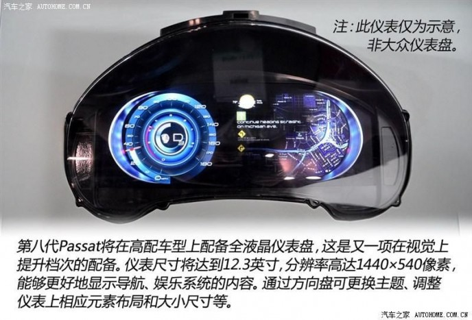 Folyadékkristályos kijelző, dinamikusan módosítható adatmegjelenítéssel, különböző profilokkal. Az Audi TT-n bemutatkozott TFT LCD a Passatnál alighanem feláras extra lesz.