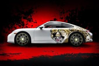 Vérszomjas vadmacskának öltöztetett Porsche