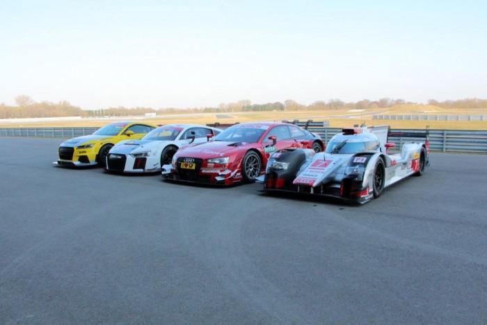 A német márka motorsport részlege, felsorakozva, balról jobbra: Audi TT Cup, R8 LMS, RS5 DTM, LMP1 R18 e-tron quattro