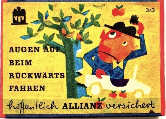 Autós jótanácsok az Allianztól, gyufásdobozokon