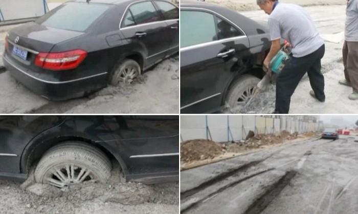 Hiába üvöltöttek a Merci sofőrjére a kínai építőmunkások, ő csak le akarta rövidíteni az utat. 14 órába telt míg légkalapáccsal kiszabadították az E-osztályt, amit odakint brutális, 100 000 dolláros áron mérnek.