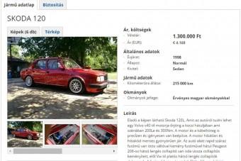 Patent Škoda 120 eladó, 200 lóerővel, beton futóművel. Szerinted mennyi?