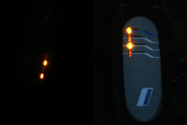 Nincs megvilágítva a felirat, nem látni, melyik funkcióhoz tartozó LED világít a töltőn