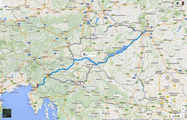 A Budapest Divaca táv nagyjából 550 kilométer, végig sztrádán
