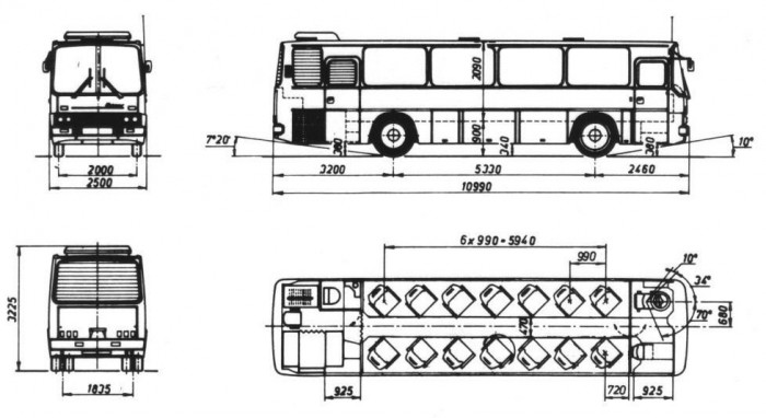 Az Ikarus 250-es konferencia busz jellegrajza