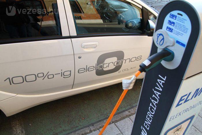 Elektromos autó az ELMŰ nyilvános töltőoszlopán
