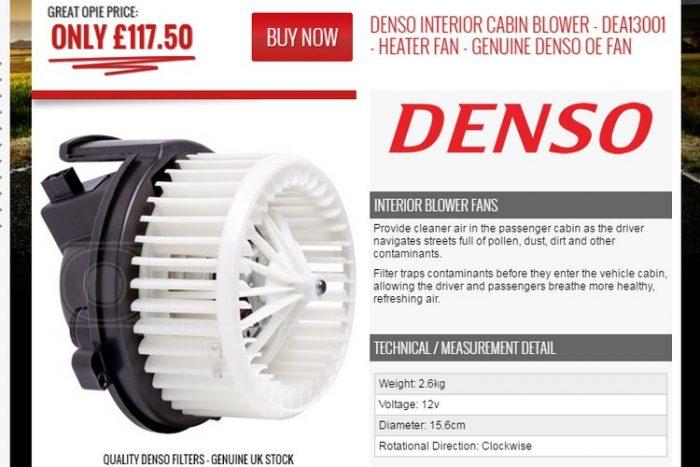 E-bayről a Denso által gyártott ventilátor már barátságosabb megoldás